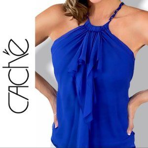 CACHÈ Halter Silk Blouse Royal Blue Size Small